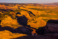 High angle view over Steamboat Rock and the Green River, Echo Park, Harpers Corner, Dinosaur National Monument, Colorado USA.