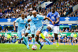 Manchester City captain, Vincent Company is chased by Everton's Romelu Lukaku  - Mandatory byline: Matt McNulty/JMP - 07966386802 - 23/08/2015 - FOOTBALL - Goodison Park -Everton,England - Everton v Manchester City - Barclays Premier League