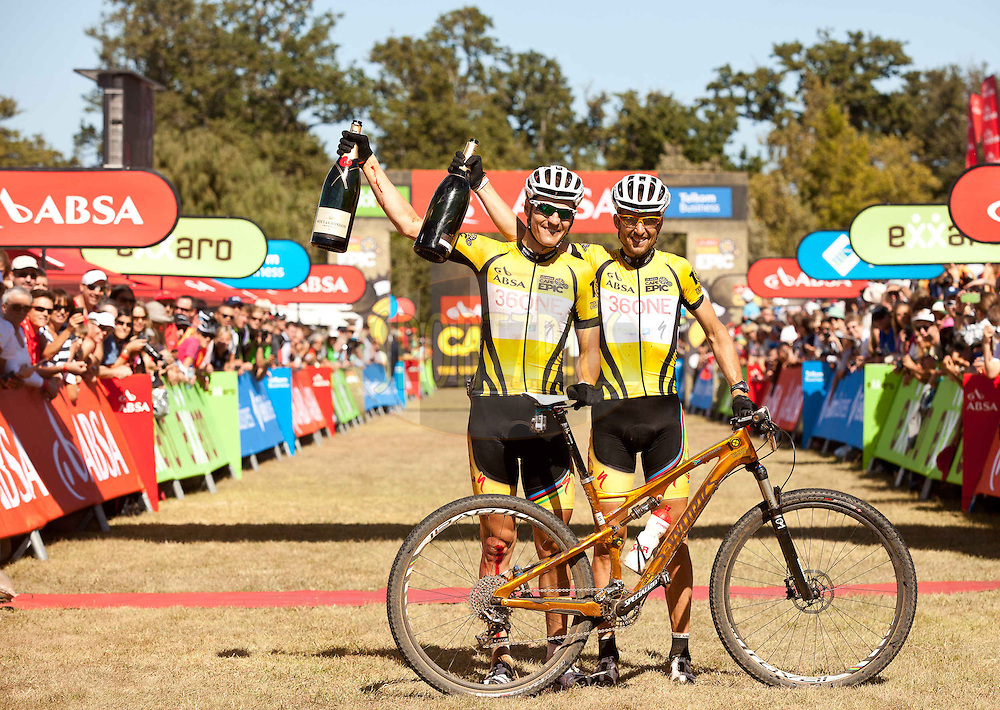 Christoph Sauser(R) and Jaroslav Kulhavy(L) during the final stage (stage 7) of the 2013 Absa Cape Epic Mountain Bike stage race from Stellenbosch to Lourensford Wine Estate in Somerset West, South Africa on the 24 March 2013..Photo by Sam Clark/Cape Epic/SPORTZPICS
