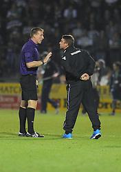 Birmingham City Manager, Lee Clark  confronts ref about yeovil's goal.  - Photo mandatory by-line: Alex James/JMP - Tel: Mobile: 07966 386802 25/08/2013 - SPORT - FOOTBALL - Cardiff City Stadium - Cardiff -  Cardiff City V Manchester City - Barclays Premier League