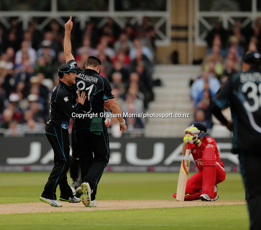 Ian Bell down as he's out to Mitchell McClenaghan during the 3rd and final ODI between England and New Zealand at the Trent Bridge, Nottingham. Photo: Graham Morris/photosport.co.nz 05/06/13