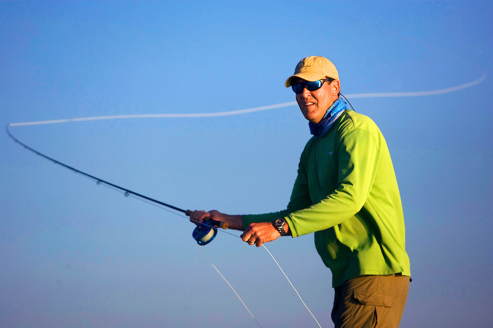 Steve Updegraff casts out on a flat while fly fishing in the Florida Keys and Everglades National Park.