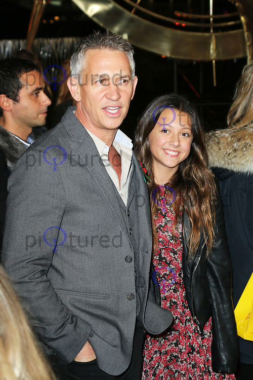 Gary Lineker; step-daughter Ella, The Hunger Games: Catching Fire - World film premiere, Leicester Square, London UK, 11 November 2013, Photo by Richard Goldschmidt
