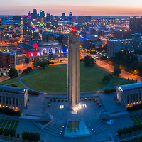 Panoramic aerial sunrise photo of Kansas City, Missouri near Liberty Memorial with view toward Union Station and downtown area.
