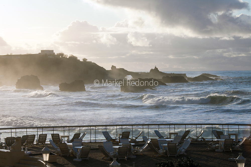 Waves at Grande Plage in Biarritz, France.