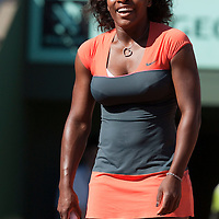 30 May 2009: Serena Williams of USA celebrates during the Women's Third Round match on day seven of the French Open at Roland Garros in Paris, France.