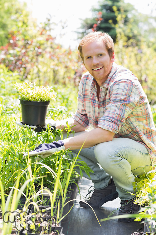 Full-length portrait of happy man holding potted plant at garden