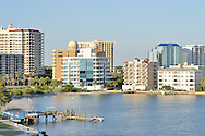 USA: Florida: Sarasota County: City of Sarasota: Sarasota downtown skyline view from John Ringling Causeway Bridge. recently named a great waterfront to visit by USA Today