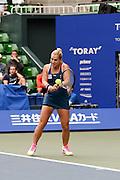 SEPTEMBER 21: Dominika Cibulkova of Slovakia competes against Naomi Osaka of Japan during women's singles match day three of the Toray Pan Pacific Open at Ariake Colosseum on September 21, 2016 in Tokyo, Japan 21/09/2016-Tokyo, JAPAN