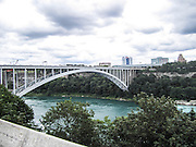 Rainbow bridge crossing, Niagara River at Niagara Falls, Ontario. Between Canada and USA