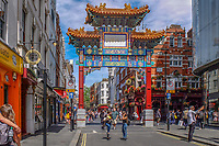 UK, London, China Town, arch, tourism, tourists, travel, holidays, June, 2018, 201806234441<br />