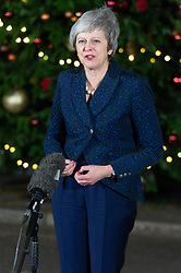 © Licensed to London News Pictures. 12/12/2018. London, UK. British Prime minister Theresa May makes a statement outside No.10 Downing Street after MP's voted in the 1922 committee no-confidence vote. Photo credit: Ray Tang/LNP