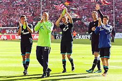 14.05.2010,  Rhein Energie Stadion, Koeln, GER, 1.FBL, FC Koeln vs Schalke 04, 34. Spieltag, im Bild: Manuel Neuer (Schalke #1) (2R) verabschiedet sich. Dabei noch von links: Sergio Escudero (Schalke #3), Mathias Schober (Schalke #33), Klaas-Jan Huntelaar (Schalke #25)   EXPA Pictures © 2011, PhotoCredit: EXPA/ nph/  Mueller       ****** out of GER / SWE / CRO  / BEL ******