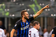 Inter Milan's Dutch defender Stefan de Vrij (R) celebrates after goal during the Italian Serie A football match Inter Milan v Torino on August 26, 2018 at the San Siro Stadium in Milan, Italy, Photo Morgese - Rossini / ProSportsImages / DPPI