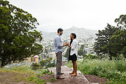 A couple poses for portraits during their Engagement Session at Billy Goat Hill in San Francisco, California, on April 18, 2017. (Stan Olszewski/SOSKIphoto)