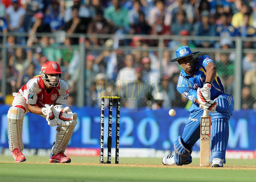 Kieron Pollard of Mumbai Indians bats during match 28 of the Indian Premier League ( IPL) 2012  between The Mumbai Indians and the Kings X1 Punjab held at the Wankhede Stadium in Mumbai on the 22nd April 2012..Photo by Pal Pillai/IPL/SPORTZPICS.