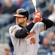 Chris Davis, Baltimore Orioles, batting during the New York Yankees V Baltimore Orioles home opening day at Yankee Stadium, The Bronx, New York. 7th April 2014. Photo Tim Clayton