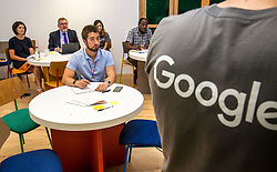Pictured: David Mundell<br /> Scottish Secretary David Mundell visited a 'digital garage' in Edinburgh which trains people in digital skills. The Google Digital Garage, in Shandwick Place is a social responsibility outlet for the corporate giant<br /> <br /> <br /> Ger Harley   EEm Date