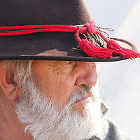 Mike Reynolds sits by his camp Sunday February 8, 2015 during the 10th Annual Civil War Living History Weekend at Cameron Art  Museum. The Weekend commemorated the Battle of Forks Road. (Jason A. Frizzelle)