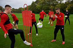 CARDIFF, WALES - Saturday, October 13, 2018: Wales' Ben Woodburn (L) and Kieron Freeman during a training session at the Vale Resort ahead of the UEFA Nations League Group Stage League B Group 4 match between Republic of Ireland and Wales. (Pic by David Rawcliffe/Propaganda)