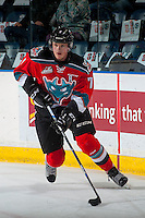 KELOWNA, CANADA - NOVEMBER 26: Lucas Johansen #7 of the Kelowna Rockets skates with the puck during warm up against the Regina Pats on November 26, 2016 at Prospera Place in Kelowna, British Columbia, Canada.  (Photo by Marissa Baecker/Shoot the Breeze)  *** Local Caption ***