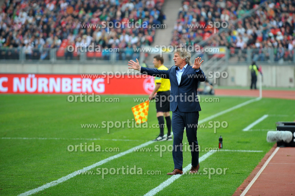 05.04.2014, easyCredit Stadion, Nuernberg, GER, 1. FBL, 1. FC Nuernberg vs Borussia Moenchengladbach, 29. Runde, im Bild Trainer Gertjan Verbeek (1.FC Nuernberg) gestikulierend an der Seitenlinie. // during the German Bundesliga 29th round match between 1. FC Nuernberg and Borussia Moenchengladbach at the easyCredit Stadion in Nuernberg, Germany on 2014/04/05. EXPA Pictures &copy; 2014, PhotoCredit: EXPA/ Eibner-Pressefoto/ Merz<br /> <br /> *****ATTENTION - OUT of GER*****