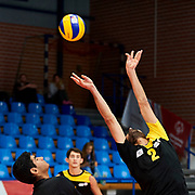 Katowice, Poland - 2017 September 03: Athlete Elchin Mustafayev from SO Azerbaijan passes the ball while Third Place match between SO Azerbaijan and SO Czech Republic during European Unified Volleyball Tournament 2017 at Spodek Hall on September 03, 2017 in Katowice, Poland.<br /> <br /> Adam Nurkiewicz declares that he has no rights to the image of people at the photographs of his authorship.<br /> <br /> Picture also available in RAW (NEF) or TIFF format on special request.<br /> <br /> Any editorial, commercial or promotional use requires written permission from the author of image.<br /> <br /> Image can be used in the press when the method of use and the signature does not hurt people on the picture.<br /> <br /> Mandatory credit:<br /> Photo by &copy; Adam Nurkiewicz / Mediasport