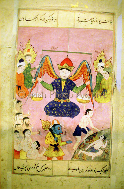Arab manuscript depicting angel weighing a soul.