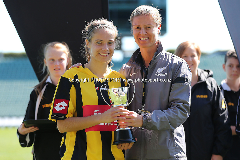 Katie Rood of Glenfield Rovers is presented with the Player of the Match trophy. 2014 ASB Womens Knockout Cup Final football match, Forest Hill Milford Utd v Glenfield Rovers at QBE Stadium, Albany, New Zealand. Sunday 7 September 2014. Photo: Anthony Au-Yeung / www.photosport.co.nz