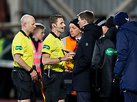 Football - 2019 / 2020 William Hill Scottish Cup - Quarter-Final: Heart of Midlothian vs. Rangers<br /> <br /> Rangers manager Steven Gerrard speaks with the referee at half time, at Tynecastle Park, Edinburgh.<br /> <br /> COLORSPORT/BRUCE WHITE