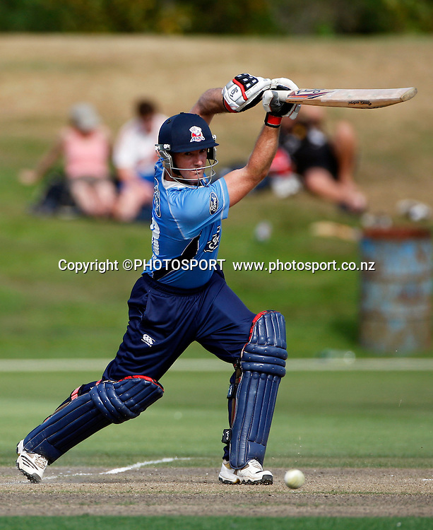 Auckland batsman Gareth Hopkins during his innings. Canterbury Wizards v Auckland Aces in the One Day Competition, Preliminary Semi Final. QEII Park, Christchurch, New Zealand. Sunday, 06 February 2011. Joseph Johnson / PHOTOSPORT.