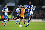 Hull City defender Isaac Hayden (20) shoots during the The FA Cup match between Hull City and Brighton and Hove Albion at the KC Stadium, Kingston upon Hull, England on 9 January 2016.