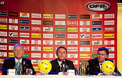 04.10.2011, Oberwart, AUT, OeFB, Praesentation Nationalteam Trainer, im Bild der neue OeFB Teamchef Marcel Koller mit Leo Windtner und Willi Ruttensteiner // during the presentation of the new OeFB coach in Oberwart, AUT, on 2011-10-04, EXPA Pictures © 2011, PhotoCredit: EXPA/ Erwin Scheriau
