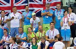 Fans of Darko Duric of Slovenia when he competes during the Men's 200m Freestyle S4 Final of Swimming competition during Day 10 of the Summer Paralympic Games London 2012 on September 7, 2012, in  Aquatics centre, London, Great Britain. (Photo by Vid Ponikvar / Sportida.com)