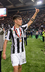 May 9, 2018 - Rome, Italy - Paulo Dybala celebrates the victory of the trophy after the Tim Cup Final football match F.C. Juventus vs A.C. Milan at the Olympic Stadium in Rome, on May 09, 2018  (Credit Image: © Silvia Lore/NurPhoto via ZUMA Press)