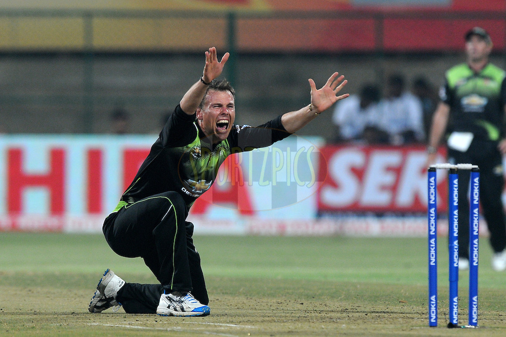 Johan Botha of Warriors appeals unsuccessfully for a wicket during match 1 of the NOKIA Champions League T20 ( CLT20 )between the Royal Challengers Bangalore and the Warriors held at the  M.Chinnaswamy Stadium in Bangalore , Karnataka, India on the 23rd September 2011..Photo by Pal Pillai/BCCI/SPORTZPICS