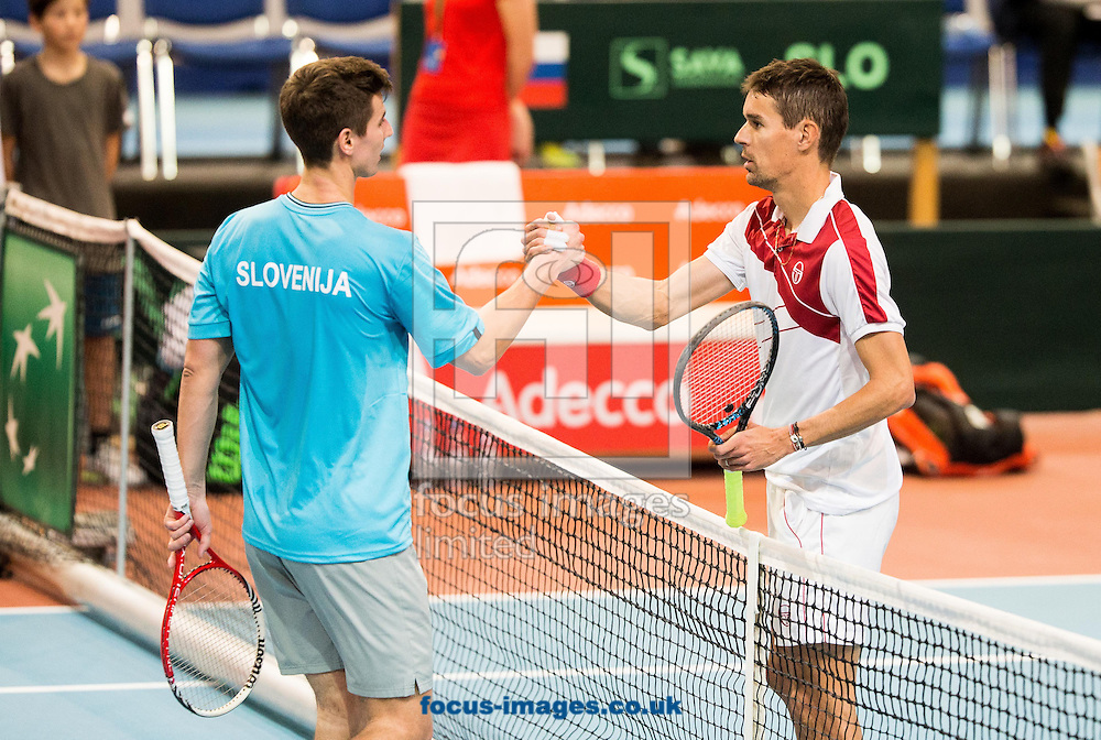 Tilen Zitnik of Slovenia  and Thomas Oger of Monaco during the first round Davis Cup match between Solvenia and Monaco  at Tennis Arena Tabor, Maribor, Slovenia.<br /> Picture by EXPA Pictures/Focus Images Ltd 07814482222<br /> 05/02/2017<br /> *** UK &amp; IRELAND ONLY ***<br /> <br /> EXPA-SLO-170205-0080.jpg
