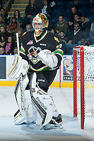 KELOWNA, CANADA - JANUARY 26: Andy Desautels #33 of the Prince Albert Raiders stands in the net at the start of third period at the Kelowna Rockets on January 26, 2013 at Prospera Place in Kelowna, British Columbia, Canada (Photo by Marissa Baecker/Shoot the Breeze) *** Local Caption ***