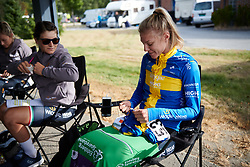 Emilia Fahlin (SWE) prepares for Ladies Tour of Norway 2018 Stage 3. A 154 km road race from Svinesund to Halden, Norway on August 19, 2018. Photo by Sean Robinson/velofocus.com