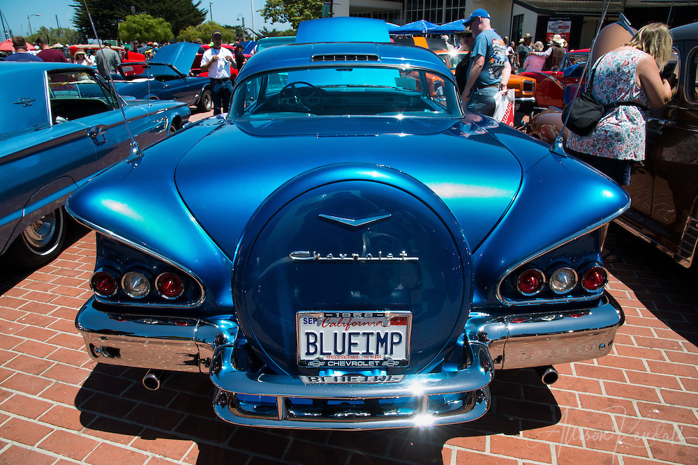 Monterey Rock & Rod Festival, classic cars and hot rods on display at Custom House Plaza in Monterey, California