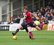 28th April 2018, Fir Park, Motherwell, Scotland; Scottish Premier League football, Motherwell versus Dundee; Mark O'Hara of Dundee battles for the ball with Allan Campbell of Motherwell