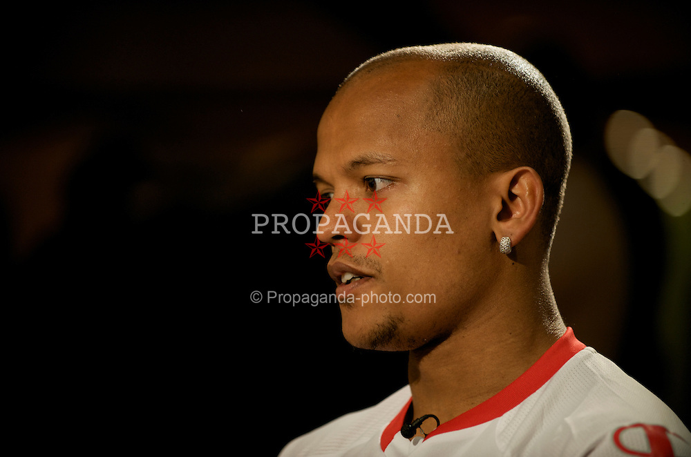 CARDIFF, WALES - Tuesday, March 24, 2009: Wales' Robert Earnshaw is interviewed during a media session at the Vale of Glamorgan Hotel ahead of the 2010 FIFA World Cup Qualifying Group 4 match against Finland. (Pic by David Rawcliffe/Propaganda)