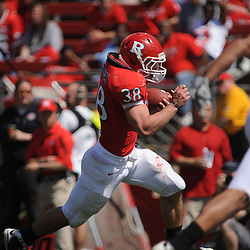Apr 18, 2009; Piscataway, NJ, USA; Rutgers RB Joe Martinek (38) runs for a touchdown during the first half of Rutgers' Scarlet and White spring football scrimmage.