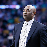 30 January 2013: Sacramento Kings head coach Keith Smart is seen during the Boston Celtics 99-81 victory over the Sacramento Kings at the TD Garden, Boston, Massachusetts, USA.