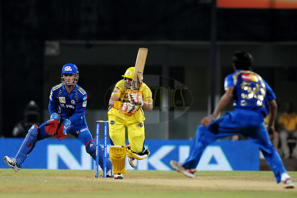 Michael hussey of Chennai Super Kings bats during match 3 of the NOKIA Champions League T20 ( CLT20 )between the Chennai Superkings and the Mumbai Indians held at the M. A. Chidambaram Stadium in Chennai , Tamil Nadu, India on the 24th September 2011..Photo by Pal Pillai/BCCI/SPORTZPICS
