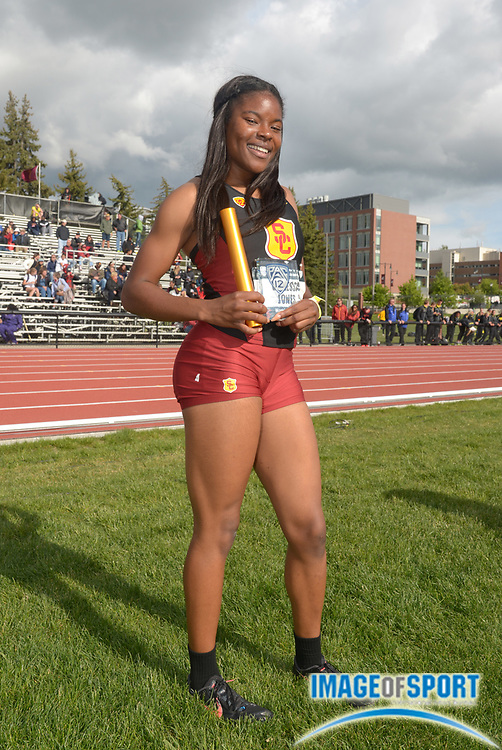 May 18, 2014; Pullman, WA, USA; Vanessa Jones poses after running the third leg of the Southern California womens 4 x 400m relay that won in 3:34.72 in the 2014 Pac-12 Championships at the Mooberry Track & Field Complex.