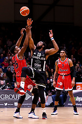 Marcus Delpeche of Bristol Flyers and Darius Defoe of Newcastle Eagles tip off  - Photo mandatory by-line: Robbie Stephenson/JMP - 01/03/2019 - BASKETBALL - Eagles Community Arena - Newcastle upon Tyne, England - Newcastle Eagles v Bristol Flyers - British Basketball League Championship