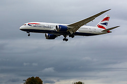 © Licensed to London News Pictures. 09/09/2019. London, UK. A British Airways plane from Charleston International Airport, South Carolina arrives to land at London Heathrow Terminal 3 as few BA planes are flying on the first day of the two days first-ever strike staged by British Airways pilots dispute over pay. Photo credit: Dinendra Haria/LNP