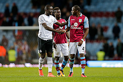 Oumar Niasse of Everton and Aly Cissokho of Aston Villa shake hands after Everton win 1-3 - Mandatory byline: Rogan Thomson/JMP - 01/03/2016 - FOOTBALL - Villa Park Stadium - Birmingham, England - Aston Villa v Everton - Barclays Premier League.