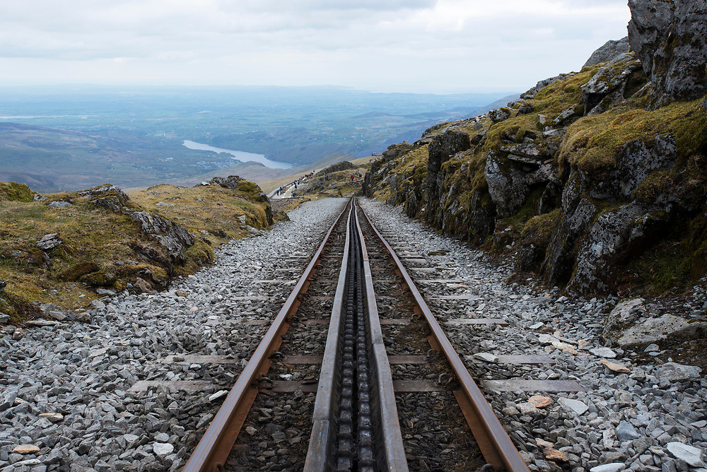 The tracks of the train that leads to the top of Mt Snowdon, the highest peak in Wales.